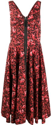 Marni Abstract Leopard-Print Midi Dress