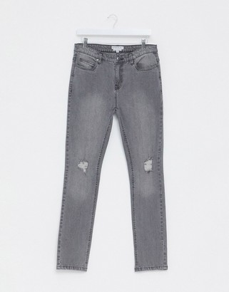 Another Influence skinny NOA jeans in gray with knee rip