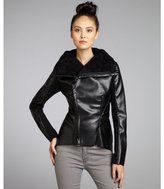 Walter black faux leather 'Ainsley' faux fur lined asymmetric zip jacket