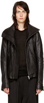 Rick Owens Black Leather Geo Jacket