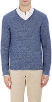 Piattelli MEN'S MARLED V-NECK SWEATER-NAVY SIZE L
