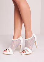 Missy Empire Sofi White Leather Mesh Panel Open Toe Heels