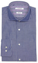 Isaac Mizrahi Navy & White Pencil Stripe Dress Shirt