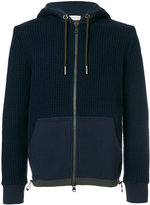 Moncler waffle knit zipped hoodie - men - Cotton/Acrylic/Polyamide/Other fibres - S
