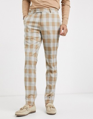 ASOS DESIGN skinny suit trousers in wool blend check in camel and grey