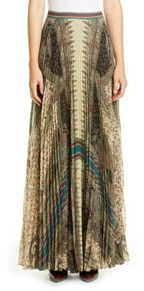 Etro Brocade Print Pleated Maxi Skirt