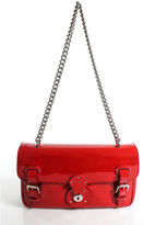 Ralph Lauren Red Patent Leather Ricky Chain Shoulder Handbag