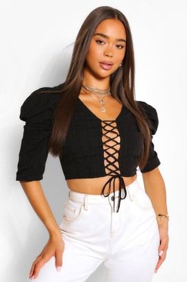 boohoo Woven Puff Sleeve Lace Up Top