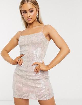 Club L London iridescent sequin cami mini dress in gold