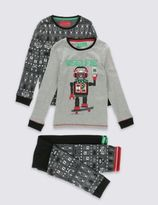 Marks and Spencer 2 Pack Robot Selfie Pyjamas (6-16 Years)