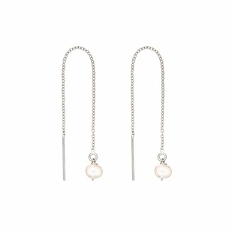 Lily & Roo Sterling Silver Single Pearl Drop Threader Earrings