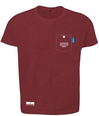 Anchor & Crew Fire Brick Red Travel Print Organic Cotton T-Shirt Mens