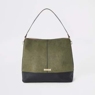 River Island Womens Khaki contrast faux suede slouch bag