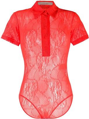 Ssheena Lace-Pattern Short-Sleeved Bodysuit