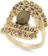 INC International Concepts Gold-Tone Yellow Pavandeacute; and Green Stone Ring, Created for Macy's