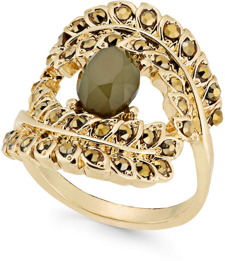 INC International Concepts Gold-Tone Yellow Pavé & Green Stone Ring, Created for Macy's