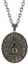 Jade Jagger Women's 925 Sterling Silver Black Rhodium Plated Labradorite Polki and White Diamonds 5th Dimension Pendant Necklace of 50 cm