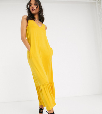 Asos Tall ASOS DESIGN Tall concealed pocket midi dress with tiered hem in yellow