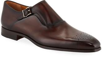Magnanni Men's Reset Single-Monk Leather Shoes