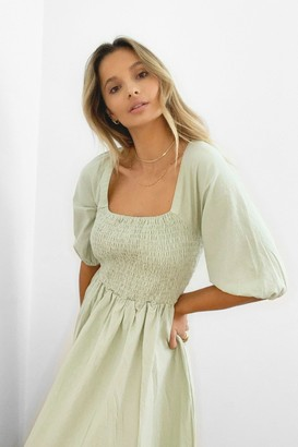 Nasty Gal Womens We Be-sleeve in You Shirred Maxi Dress - Sage