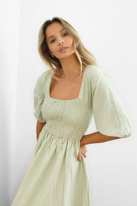 Nasty Gal Womens We Be-sleeve in You Shirred Maxi Dress - White - 8, White