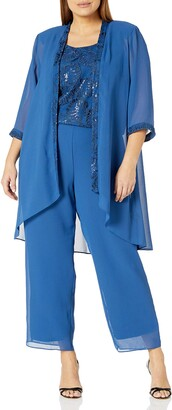 Le Bos Women's Plus Size EMRBOIDERED TOP Long Jacket Pant Set