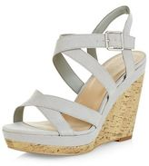 New Look Grey Suedette Cross Strap Wedges