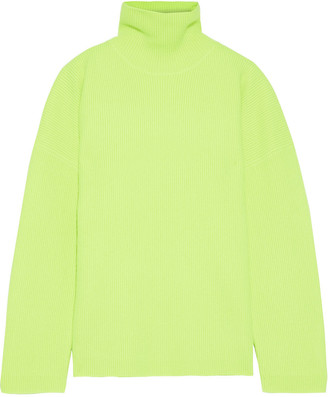 Sies Marjan Nora Neon Ribbed Wool Turtleneck Sweater