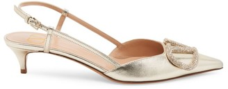 Valentino Metallic Leather Slingback Pumps