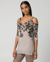 Le Château Floral Print Viscose Blend V-Neck Sweater