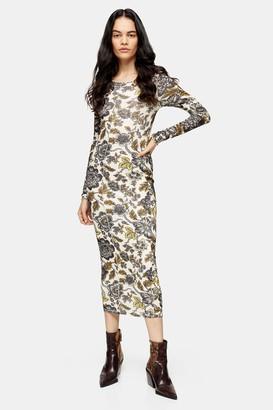 Topshop Womens Floral Print Mesh Midi Dress - Multi