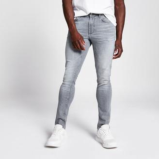 River Island Grey acid wash Sid skinny jeans
