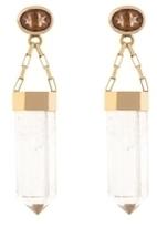 Kara Ross Gold, Quartz and Topaz Pyramid Earrings