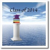 3dRose LLC ht_172612_1 Beverly Turner Graduation Design - Class of 2014 Graduation, Purple Cap and Book on Pedestal - Iron on Heat Transfers - 8x8 Iron on Heat Transfer for White Material