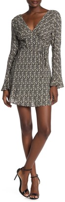 Wild Honey Back Tie Deep V-Neck Mini Dress