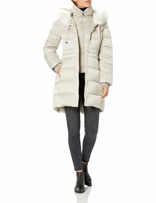 T Tahari Women's Fitted Puffer with Bib and Faux Fur Trimmed Hood