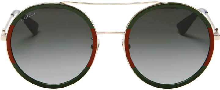 Gucci Bi-Color Round Aviator Sunglasses
