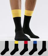 Asos DESIGN Socks In Black With Contrast Welts 5 Pack