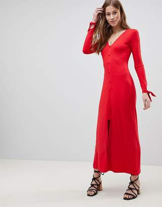 Asos Design DESIGN maxi tea dress with self covered buttons