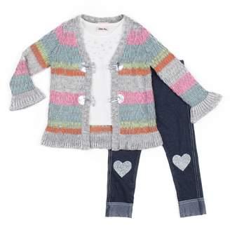 Little Lass Baby Girl Striped Cardigan, Tee & Heart Jeggings Set