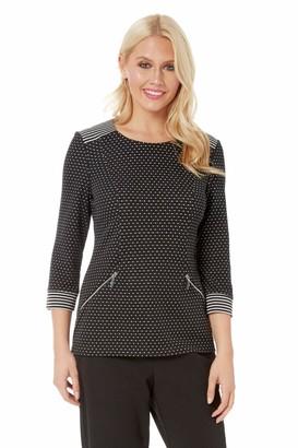 Roman Originals Women 3/4 Sleeve Zip Pocket Top - Ladies Workwear Everyday Office Work Smart Spot Stripe Contrast Zip Pocket Round Neckline Tops - Black - Size 10
