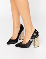 Daisy Street Flower Glitter Point Heeled Shoes