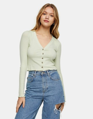 Topshop button ribbed cardigan in green