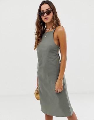 Asos Design DESIGN buckle back cotton midi sundress-Green