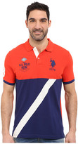 U.S. Polo Assn. Color Block Diagonal Stripe Pique Polo Shirt