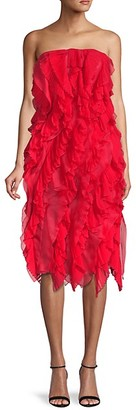 Oscar de la Renta Pleated Ruffle Silk Dress