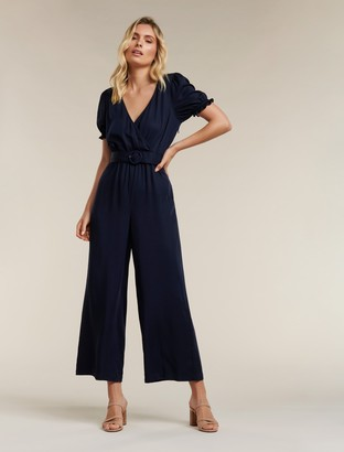 Forever New Margot Puff-Sleeve Jumpsuit - Navy Sails - 6