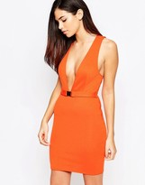 Oh My Love Belted Dress with Plunge
