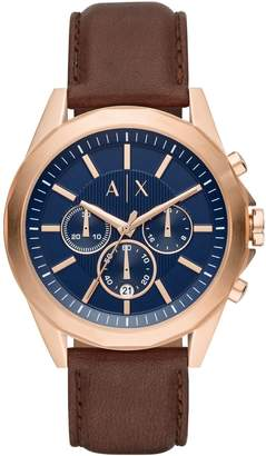 Armani Exchange Chronograph Brown Leather Strap Drexler Watch
