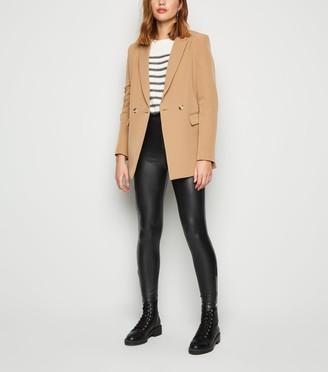New Look Coated Leather-Look Zip Hem Leggings